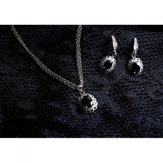 Reina Black Zircon Pendant Set