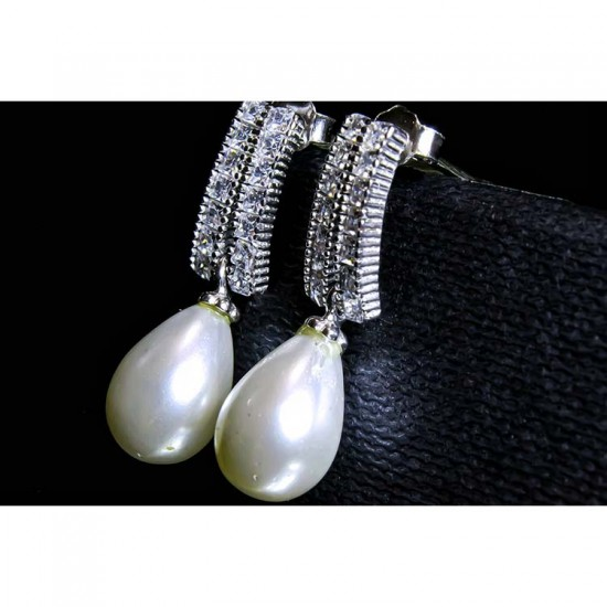 Reina Pearl Drop Zircon Studded Earrings