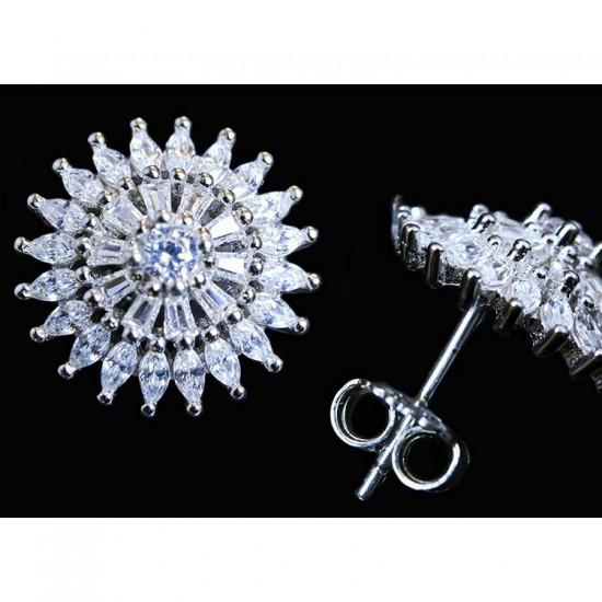 Reina Pure Zircon Studded Silver Earrings
