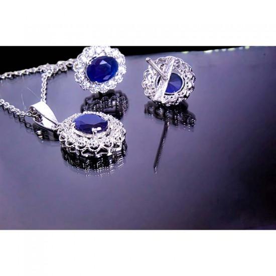 Reina Zircon Studded Sapphire Blue Pendant Set