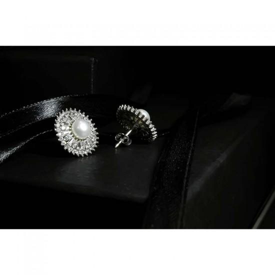 Reina Petite Round Pearl Zircon Earrings