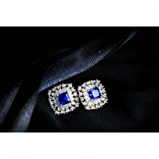 Reina Square Cut Sapphire Zircon Earrings