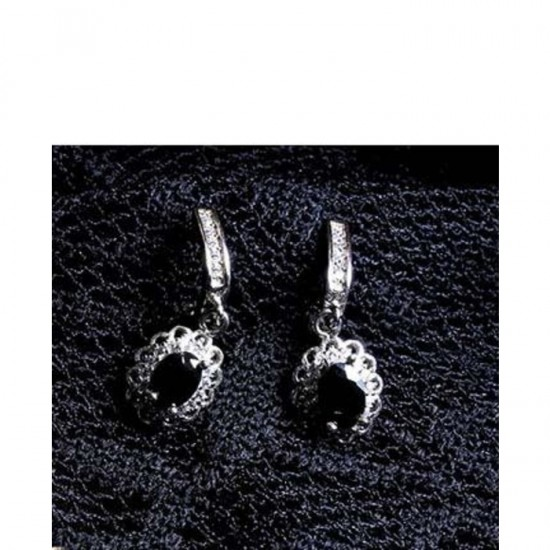 Reina Black Zircon Earrings
