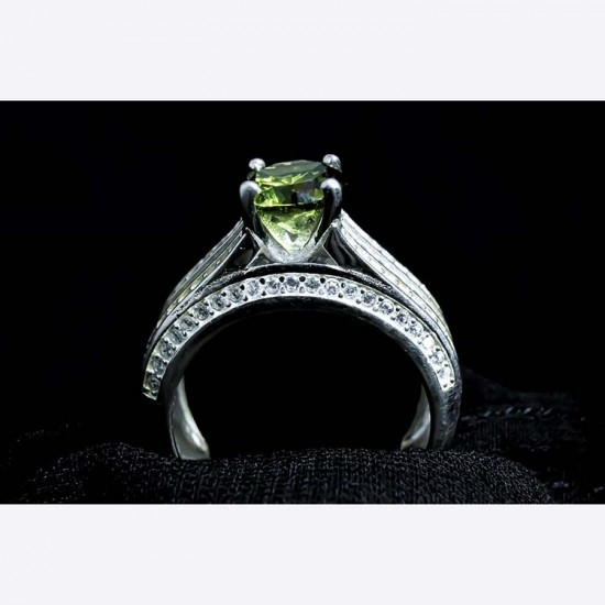 Reina Green Solitaire Ring