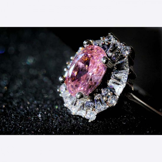 Reina Pink Rose Zircon Studded Ring