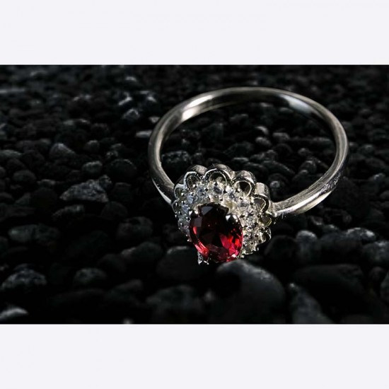 Reina Ruby Floral Ring