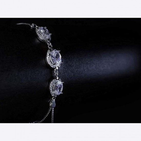 Reina White Zircon Studded Silver Bracelet