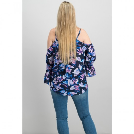 Printed Bell-Sleeved Blouse 0016A - Navy Orchid