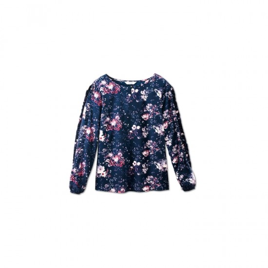 Blouse With Frill Trim 006 - Deep Blue