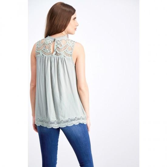 Women Lace Sleeveless Top 0105 - Light Green