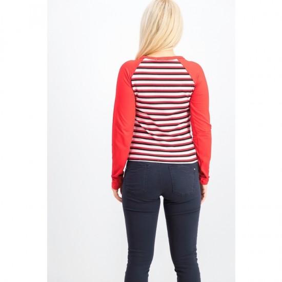 Women Twist-Hem Raglan-Sleeve T-Shirt - Red