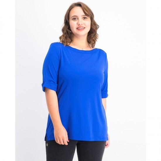 Women Cotton Elbow-Sleeve Top 0108- Ultra Blue