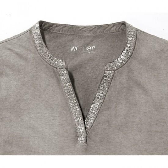 Women Shirt Sequins 0111 - Gray Vintage