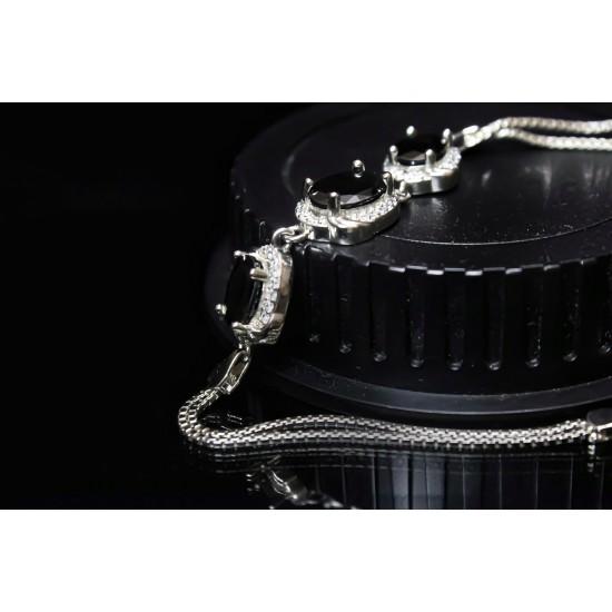 Reina Black Zircon Studded Silver Bracelet