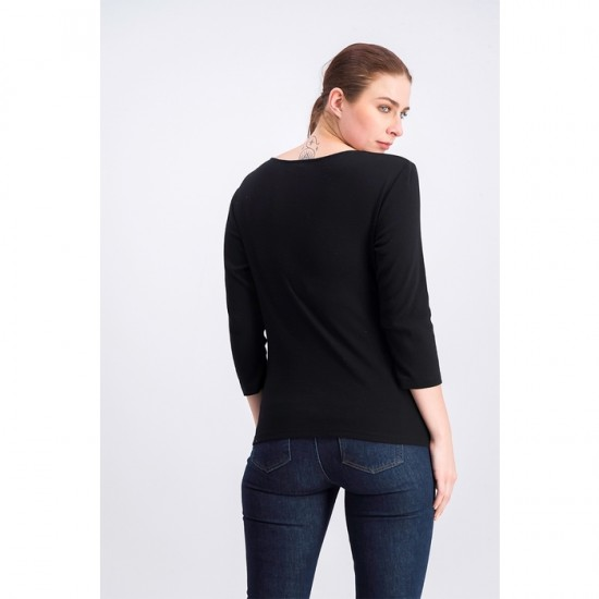 Women Cotton Embroidered Top - Deep Black