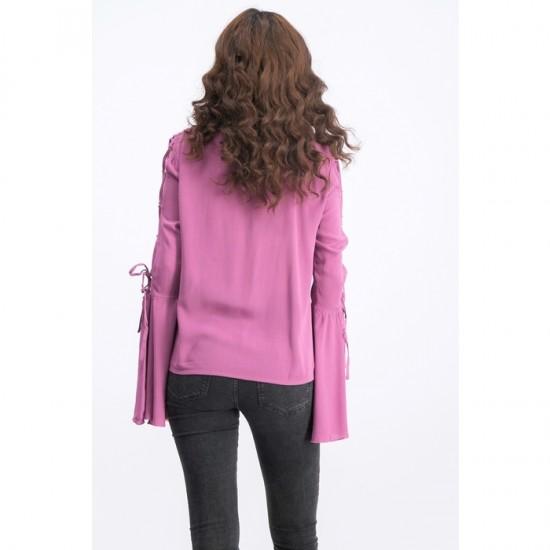 Women Laced Sleeve Embroidery Top - Dusty Purple