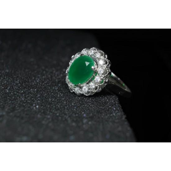 Reina Emerald Green Zircon Studded Ring