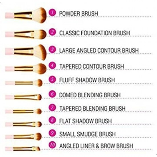 BH Cosmetics Pink Perfection - 10 Pieces Brush Set
