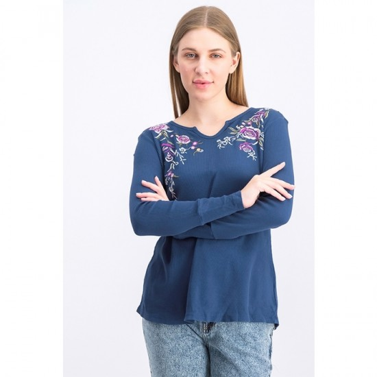 Women Petite Cotton Embroidered Split-Neck Top - Blue
