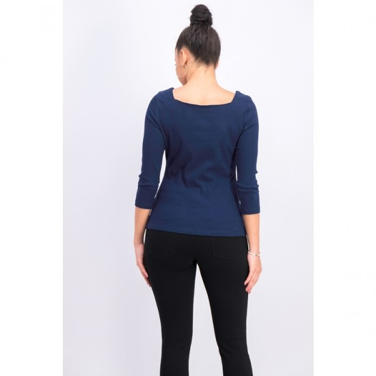 Women Long Sleeves Square Neck Top 0019 - Navy Blue