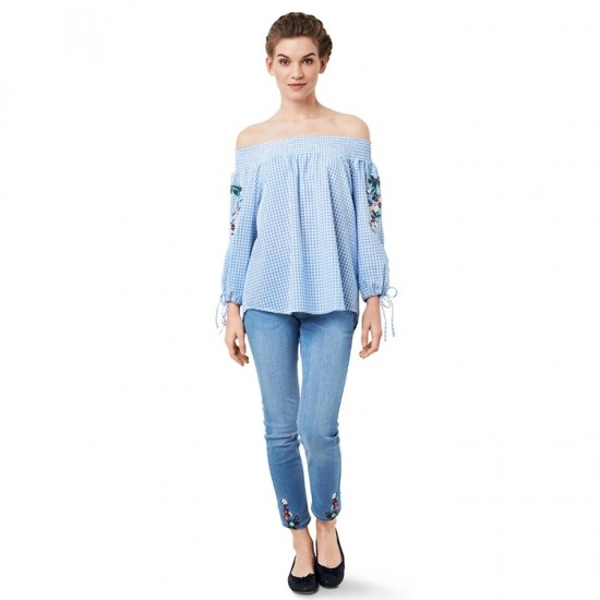 Women Off Shoulder Blouse 002 - Blue