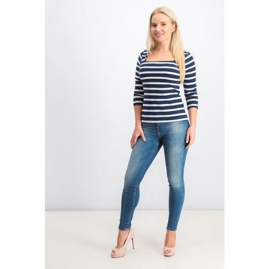 Women Stripe Long Sleeve Top 0020 - Navy Blue and White