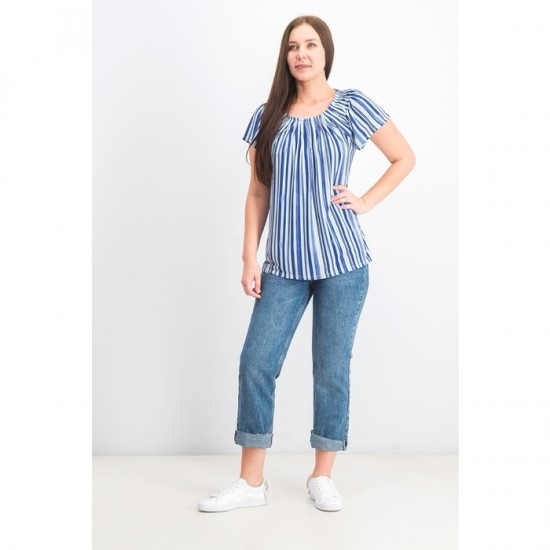 Women Pleated Scoop-Neck Top 0023 - Submerged Stripe