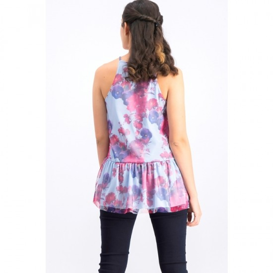 Women Floral Top 0025 - Blue and Red
