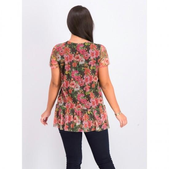 Women Floral Print Blouse 0026 - Black Combo