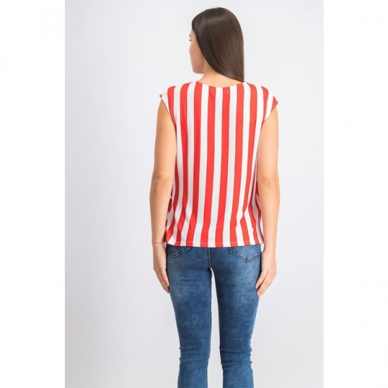 Women Stripe Top 0028 - Red/White