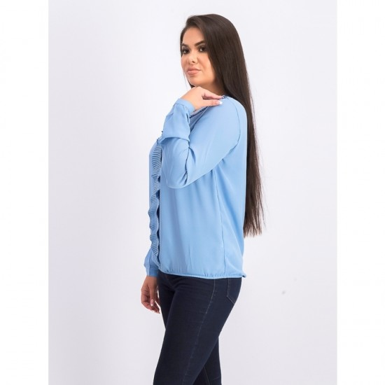 Women Long Sleeve Ruffled Neck Blouse 0032 - Light Blue