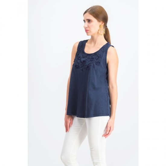 Women Cotton Soutache Trim Tank Top 0033 - Navy Blue