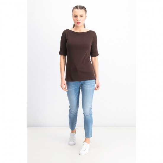 Women Cotton Elbow-Sleeve Top 0034 - Chocolate