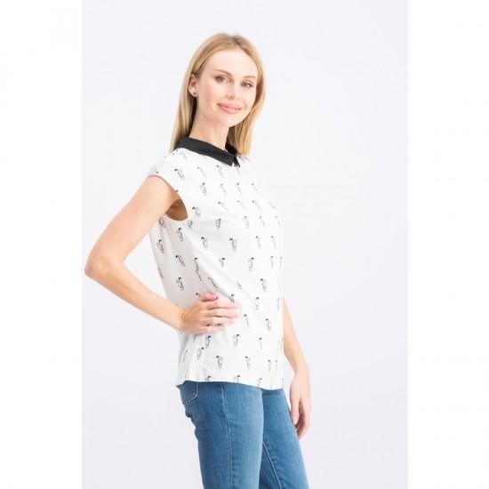 Women Cat Print Blouse 0035 - White and Black