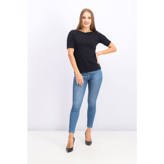 Women Petite Elbow Sleeve Top 0036 - Deep Black