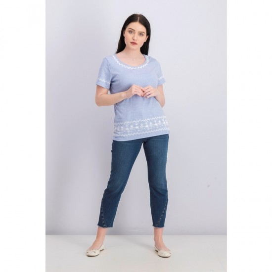 Women Striped Embroidered Top - Light Blue Heather