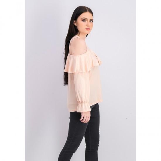 Women Long Sleeve Cold Shoulder Blouse 0039 - Blush