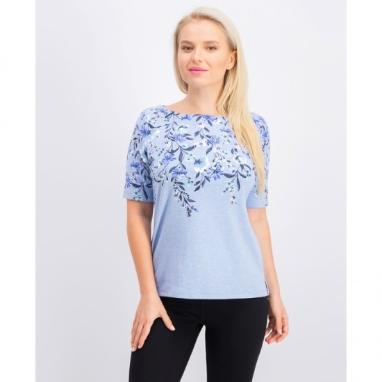 Women Petite Floral-Print Boatneck Top 0040 - Light Blue Heather