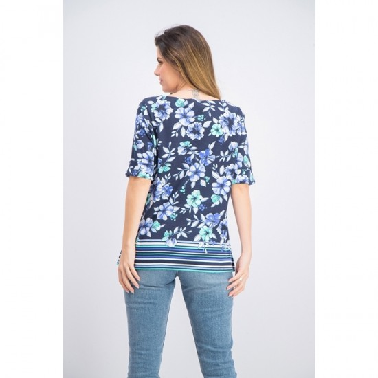 Women Boat-Neck Floral-Print Border Top 0043 - Intrepid Blue