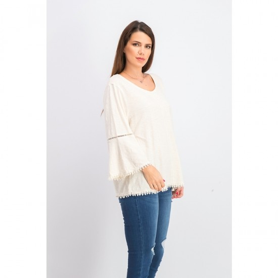Women Crochet-Trim Bell-Sleeve Top 0044 - Oatmeal Heather