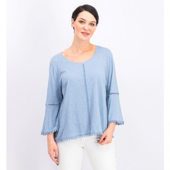 Women Crochet-Trim Bell-Sleeve Top 0045 - Blue Fog