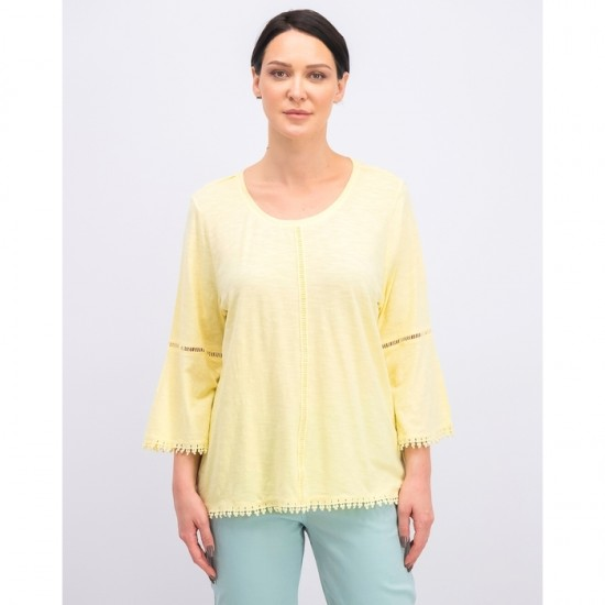 Women Crochet-Trim Bell-Sleeve Top 0046 - Soft Sun