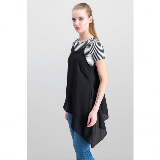 Women Layered-Look Asymmetrical Top 0048 - Black