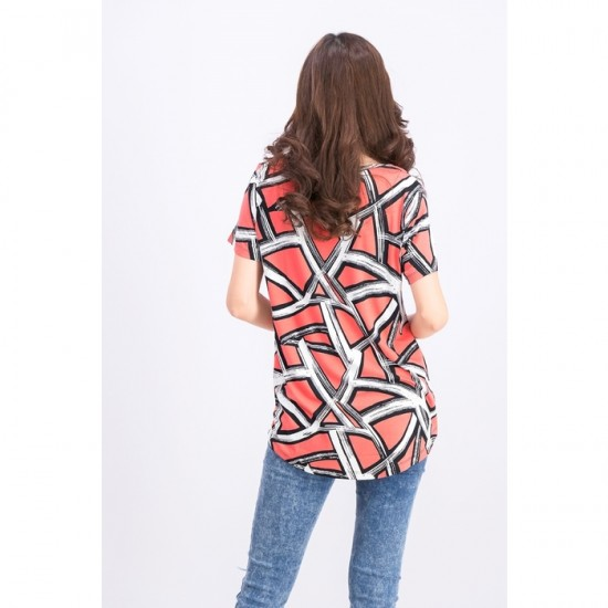 Women Printed Scoop-Neck Top 0052 - Blocked Brush