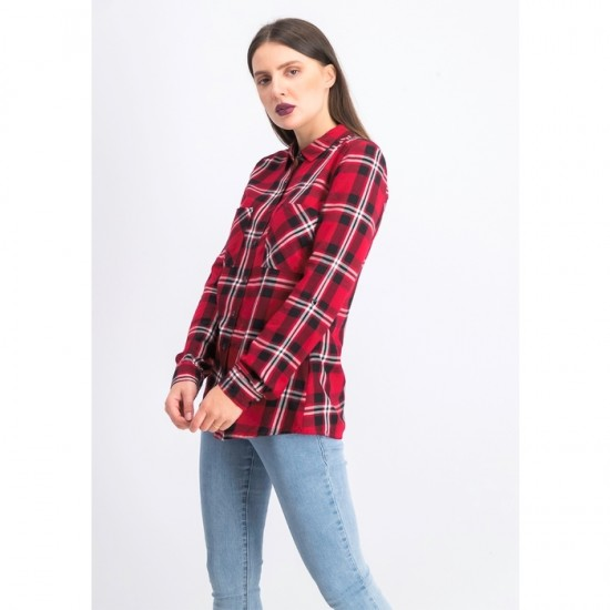 Women Plaid Long-sleeve Shirt - Red and Black