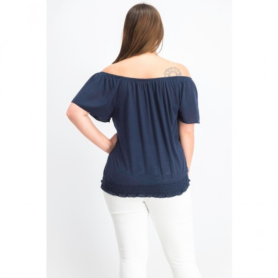 Convertible Off-the-Shoulder Top 0055 - Industrial Blue