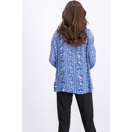 Women Printed Tie-Front Top 0057 - Blue Bouquet