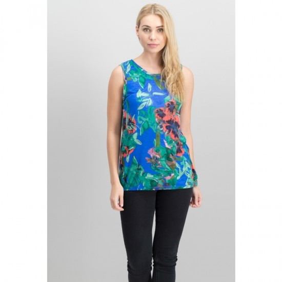 Women Floral-Print Tank Top 0058 - Blue and Green Floral