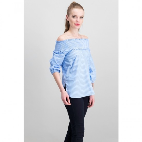 Women Off Shoulder Top 0059 - Blue and White