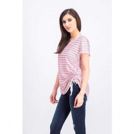 Women Striped Side-Ruched Top 0061- Red and White